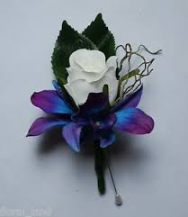 blue orchid corsage silk wedding flower blue singapore orchid white corsage