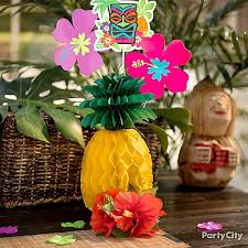 luau table centerpieces paper pineapple centerpiece idea luau food ideas luau party