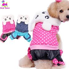 DOGBABY Dog Coat Warm Winter Dog Clothes Dot Pattern Cotton Rabbit