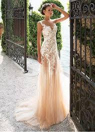 sheath wedding dress buy discount marvelous tulle lace bateau neckline see through