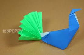 Easy Origami Peacock - how to make a peacock with color papers 123peppy