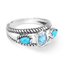 band ring possibilities sterling silver turquoise and blue topaz band ring