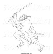 vector clip art of a sketched black and white samurai warrior