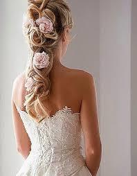 Half Up Half Down Wedding Hairstyles With Pink Flowers Beach