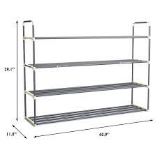 Entryway Shoe Storage Bench Amazon Com 4 Tier Shoe Rack Organizer Storage Bench Holds 24