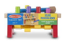 amazon com melissa u0026 doug deluxe pounding bench wooden toy with