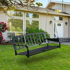 outsunny 2 person outdoor porch swing bench black pop up deals
