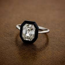 onyx engagement rings antique inspired onyx engagement ring emerald cut diamond