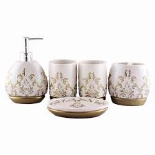 Bathroom Set Accessories by Luxury 5pcs Bathroom Accessory Set Brown White Champagne Soap Dish