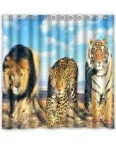 White Tiger Shower Curtain Great Deals On Creative Bath Hipster Beach White Tiger Shower