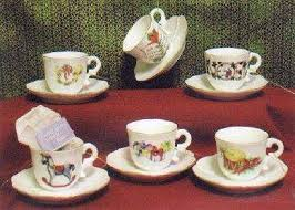 6 assorted porcelain tea cup ornaments roses and teacups