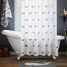 Claw Foot Tub Shower Curtains Cute Whale Printed Shower Curtains Sets For Bathroom With White