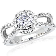 split band engagement rings halo split shank brilliant moissanite engagement ring