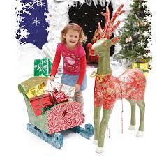 buy giant papier mache santa u0027s reindeer and sleigh tts