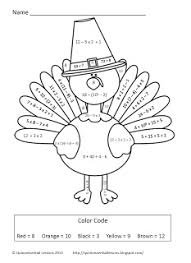 classroom freebies turkey color by numbers order of operations