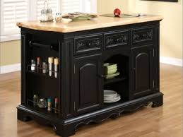 black carved wood movable kitchen islands with storage for brown
