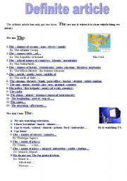 definite and indefinite articles worksheet by jacintamagalhaes