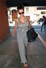 tight long white black striped kim kardashian maxi dress