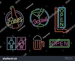 set retro style neon light outline stock vector 349698983