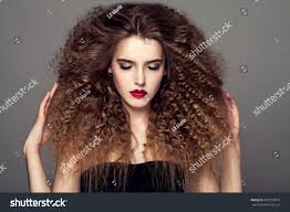 beauty young woman curly small long stock photo 459150874
