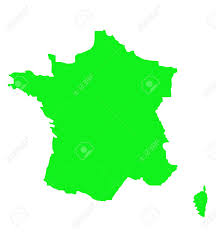 outline map of france in green isolated on white background