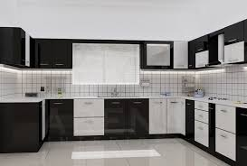 Modular Kitch Modular Kitchen In Black And White Theme Good Home Advisor