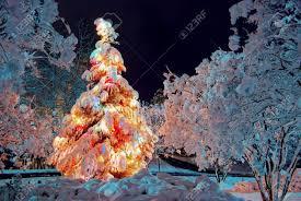 christmas tree with snow christmas lights decoration