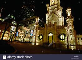 christmas lights in michigan night chicago illinois water tower at night with holiday lights in