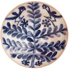handmade pottery bowls folk tree birds