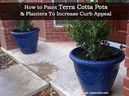 how to paint terra cotta pots and planters to increase curb appeal