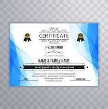 wavy blue certificate of achievement template vector free download
