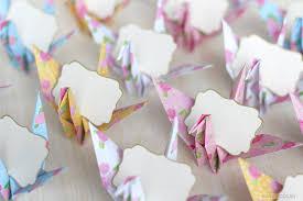 wedding place card holder origami crane hello deborah