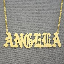 Personalized Gold Necklace Name Name Necklace Personalized Angela Gold Jewelry