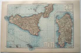 Map Of Sardinia Italy by Original 1895 German Map Of Sicily Sardinia Italy Malta Palermo