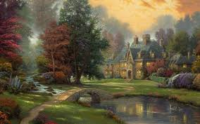 thomas kinkade autumn wallpaper high quality desktop