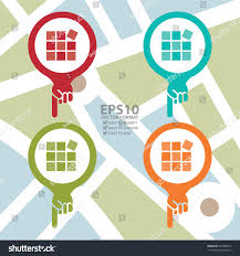 vector colorful map pointer icon tile stock vector 220386919