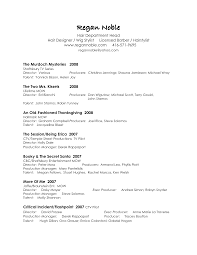 Actor Resume With No Experience Filmmaker Resume Template Resume Template Tv Production Film