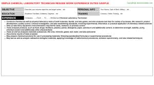 chemical laboratory technician resume sample