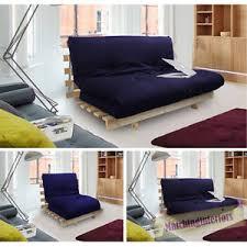 navy blue studio futon wooden frame sofa bed thick sleeping