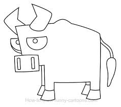 easy outlines of animals drawing a bull cartoon