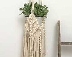 Hanging Indoor Planter by Macrame Planter Hanging Planter Mustard Felt Planter