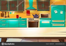 retro kitchen furniture kitchen interior background vector illustration of modern or