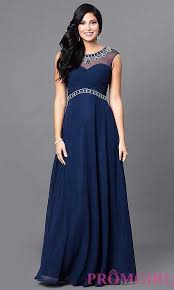 buy online navy navy blue long prom dress with jewel detailing a