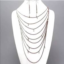 necklace metal images Jewelry dainty chains metal drape layered crystal necklace jpg