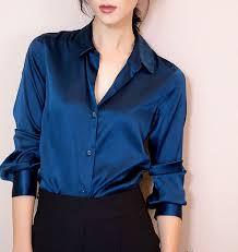 s blouse s xxxl fashion blue satin silk blouse casual