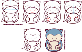 how to draw cute snorlax chibi kawaii from pokemon in easy