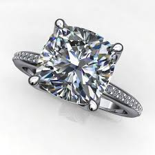 charlize ring 2 5 ct cushion forever one moissanite engagement ring