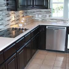 espresso kitchen cabinets with white quartz countertops beauteous l shape kitchen espresso cabinets featuring white