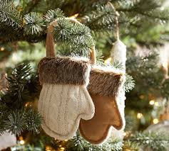 fur trim mittens ornament pottery barn