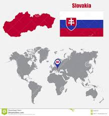 Slovakia Map Slovakia Map On A World Map With Flag And Map Pointer Vector